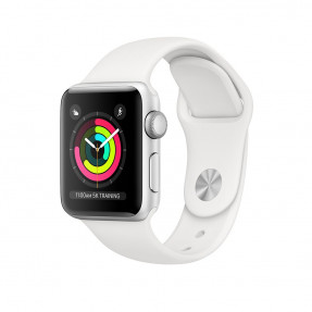 Apple Watch S3 38 mm Silver Aluminum Case Sport Band White MTEY2