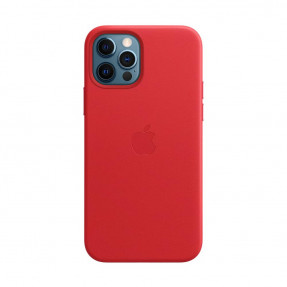 Чехол для iPhone 12/12 Pro Leather Case with MagSafe Product Red (MHKD3)