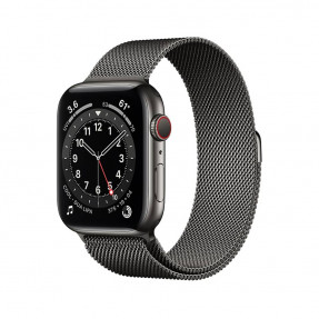 Apple Watch S6 44 mm Graphite Stainless Steel Case with Milanese Loop Black