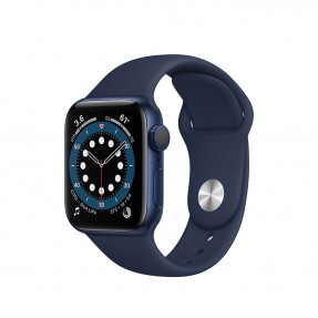 Apple Watch S6 40 mm Blue Aluminum Case Sport Band Deep Navy