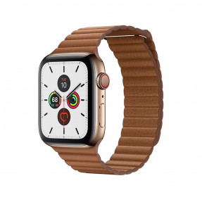 Apple Watch S5 44 mm Gold Stainless Steel Case with Leather Loop Saddle Brown