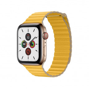 Apple Watch S5 44 mm Gold Stainless Steel Case with Leather Loop Meyer Lemon