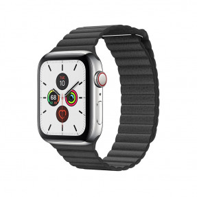 Apple Watch S5 44 mm Silver Stainless Steel Case with Leather Loop Black