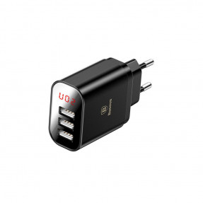 Baseus Mirror Travel Charger 3USB 3.4A Black