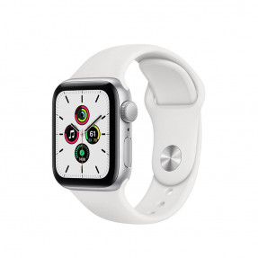 Apple Watch SE 40 mm Silver Aluminum Case Sport Band White