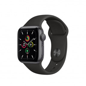 Apple Watch SE 40 mm Space Gray Aluminum Case Sport Band Black