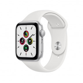 Apple Watch SE 44 mm Silver Aluminum Case Sport Band White
