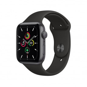 Apple Watch SE 44 mm Space Gray Aluminum Case Sport Band Black
