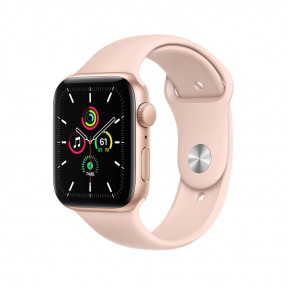 Apple Watch SE 44 mm Gold Aluminum Case Sport Band Pink Sand