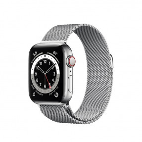 Apple Watch S6 40 mm Silver Stainless Steel Case with Milanese Loop Silver