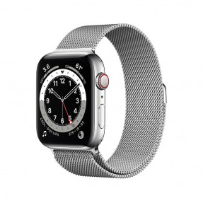 Apple Watch S6 44 mm Silver Stainless Steel Case with Milanese Loop Silver