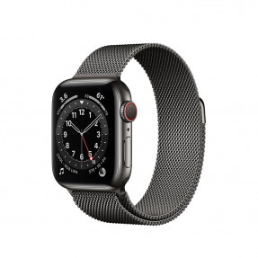 Apple Watch S6 40 mm Graphite Stainless Steel Case with Milanese Loop Black