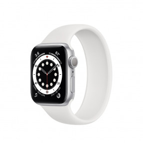 Apple Watch S6 40 mm Silver Aluminum Case Sport Band White