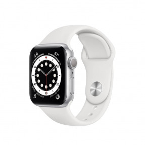 Apple Watch S6 40 mm Silver Aluminum Case Sport Band White MG283