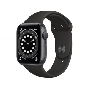 Apple Watch S6 44 mm Space Gray Aluminum Case Sport Band Black M00H3