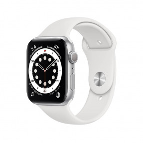 Apple Watch S6 44 mm Silver Aluminum Case Sport Band White M00D3