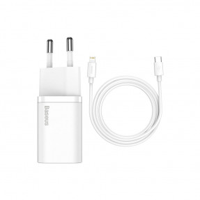 Адаптер питания Baseus Super Si Quick Charger with Type-C/Lightning Cable White (TZCCSUP-B02)